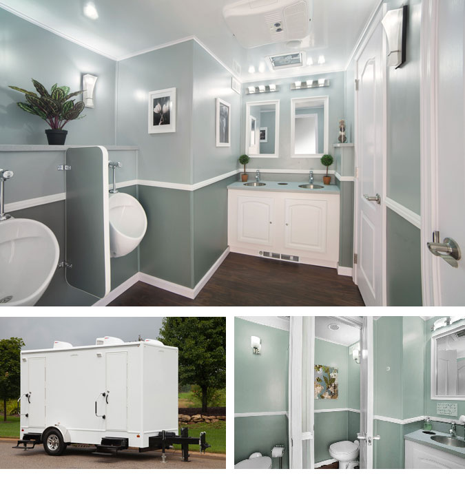 5 station portable restroom trailer to rent near me in Belleville New Jersey